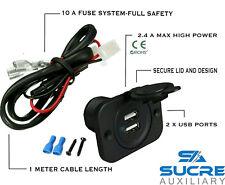12V/24V USB Twin Dual Power Encendedor de Cigarrillos para Coche + Cable Conector 1M
