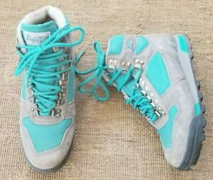 VASQUE vtg Teal Canvas GRAY Leather Hiking Mountaineer trekking MID Boots 7.5