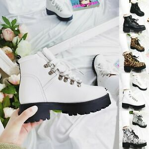 LADIES WOMENS ANKLE LACE UP PLATFORM CHUNKY GOTH PUNK ICON RETRO SHOES BOOTS