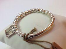 "NWT Uno de 50 Silvertone Beaded Large Stretch Bracelet ""Suerte"" 6-8""  (""Luck"")"