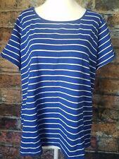 Jones New York Sport Women's 1X blue white stripe blouse
