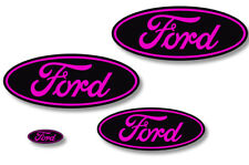 Front,Rear,Steering Wheel Decals Sticker Oval Overlay For Ford Explorer PINK BLK