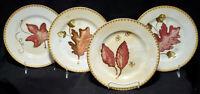 "CRATE & BARREL (4) Salad Dessert Accent Plates AUTUMN LEAVES 8-1/4"" gold trimmed"