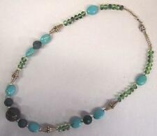 """Turquoise Glass Bead 21"""" Necklace 50% Off Vintage Green Stone Blue"""