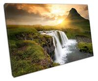 print on canvas Scandinavia ICELAND Waterfall sunrise landscape 30x20 Inch