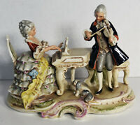 "Vintage Old 9"" German Grafenthal Porcelain Statue Piano Woman Violin Man Puppy"