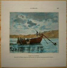 1884 Reclus print  BOAT ON EUPHRATES, EASTERN TURKEY (#32)
