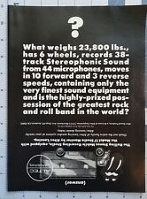 1976 Altec Lansing Stereo Speaker Equipment Rolling Stones Vintage Print Ad