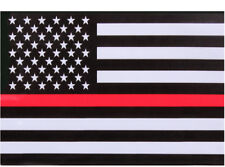 "Thin Red Line USA American Flag Support Firefighter Sticky Back Decal 3"" x 4.25"""
