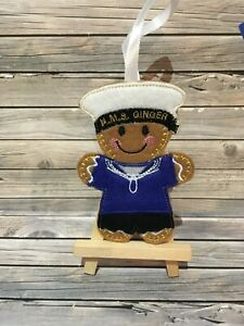 Felt embroided gingerbread sailor decoration