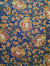 3 7/8 Yards Vintage COTTON Colorful PAISLEY on BLUE Fabric