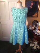 TAHARI ASL TURQUOISE  & WHITE PATTERN FIT & FLARE DRESS-SIZE8-NWOT-LOVELY STYLE!