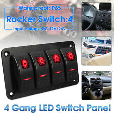 4 Gang Rocker Switch Panel Circuit Breaker LED Car Caravan Marine Boat RV 12/24V