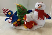 Vintage Animated Christmas Snowman And Bird Singing Dancing Tekky Toys