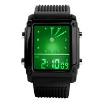 Unique Men's Sport Digital LED Backlight Dual Time Analog Square Quartz Watch US