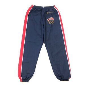 1996 Champion USA Olympics Warm Up Sweat Pants Joggers Size Medium M Navy Red