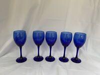 "Cobalt Blue Glass 5 Wine Glasses 7 3/4"" Tal Curved Stems"