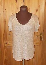 QUIZ sandy beige gold metallic knitted short sleeve tunic jumper top M 10-12 40