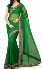 Ready To Wear Embroidered Green Net Saree with Stitched Blouse & Peticoat