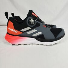 Adidas Terrex Two Boa Trail Running Shoes Core Black Silver Solar Red Size 7.5