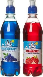 Snow Cone Syrup , Not Slush Syrup 2 x 500ml  Blue Raspberry and Strawberry