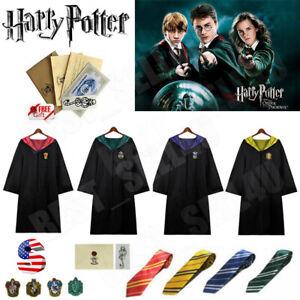 US Harry Potter Children Adult Robe Cloak Gryffindor Slytherin Cosplay Costume