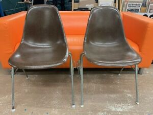 Vintage Pair of Herman Miller Eames Brown Shell Chair - Visible Fiberglass