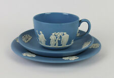 Rare Vintage WEDGWOOD Blue & White Jasperware TRIO - Cup, Saucer & Plate