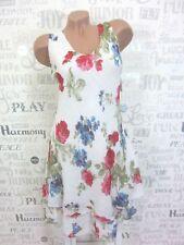 ITALY Sommerkleid Hängerchen Strand Kleid Lagenlook IBIZA 36 38 40 42 Weiß E41