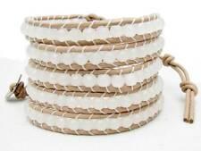 5 Wrap Bracelet White Jade  beads  leather  fashion bracelet