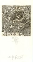 Medieval Couple, Music, Ex libris PF 1996 Etching by Harry Jurgens, Germany