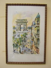 AQUARELLE PARIS CHAMPS ELYSEES ARC DE TRIOMPHE SIGNE GIRARD