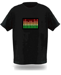 Sound Activated Electronic Light Up Rave Graphic Equalizer T Shirt All Sizes New