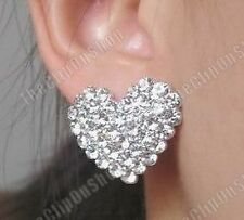CLIP ON screw PAVE CRYSTAL rhinestone HEART EARRINGS