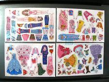 Girls Princess Kids Fridge Magnet Set - Magnetic Dress Up Dolls  4 Sheets