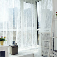 Window Curtain Leaf Floral Panel Sheer Drapes Voile Tulle Scarf Home Valances