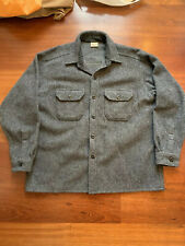 Vintage Woolrich Thick Wool Flannel Jacket Jack Shirt men's XL grey hunting