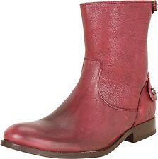 FRYE Melissa Button Zip Short Ankle Leather Boot Wine Antiq Soft Full Grain