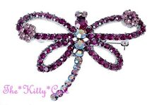 Chic Magenta Purple Mayfly Dragonfly Butterfly Brooch Pin w/ Swarovski Crystals