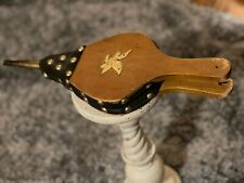 Vintage Patriotic Billow Black Leather Solid Wood with Gold Eagle