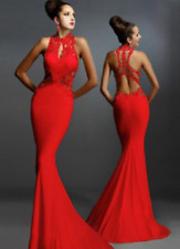 Women Slim Sleeveless Decal Stitching Sexy Fishtail Package Hip Dress Size M