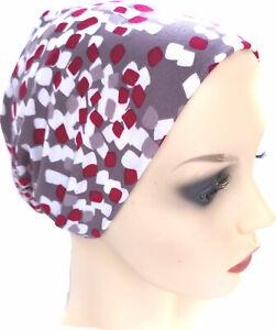 SLEEP/DAY HAT COMFORTABLE SEAM FREE BEANIE HEADWEAR FOR HAIR LOSS. MOCHA/WINE
