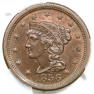 1856 N-7b R-2 PCGS MS 63 BN Upright 5 Braided Hair Large Cent Coin 1c