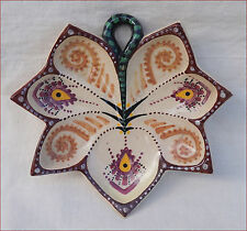 QUIMPER P FOUILLEN Leaf Shaped Oyster Plate French Hand Painted Faience