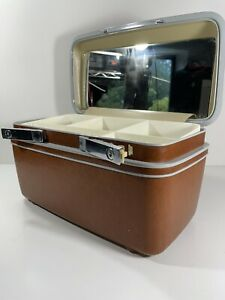 Vintage Samsonite Silhouette Overnight Train Makeup Case W/Mirror Keys - Brown