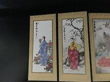 "Chinese Miniature Folding Screen 8 Panels w Beautiful Pictures of Women 25"" X 8"""