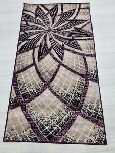 Quality Rug PURPLE BEIGE 80 x 150 cm Soft Touch Living Room Turkish Carpet Rugs
