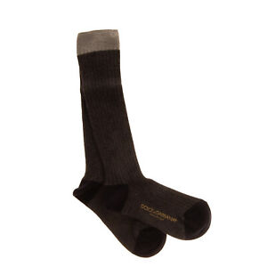 DOLCE & GABBANA Ribbed Calf Socks Size M / 6-8Y Thin Knit Made in Italy