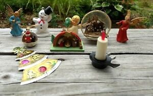 Christmas Decor Mangers, Ornaments, Angels, Frosty Huge Mixed Lot (9) Pc Vintage
