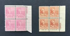mystamps US 814 & 815 plate blocks, 9 cent Harrison, 10 cent Tyler 1938,  MNH OG